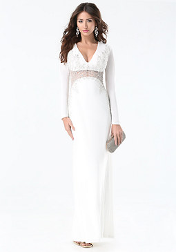 bebe Beaded Inset Gown