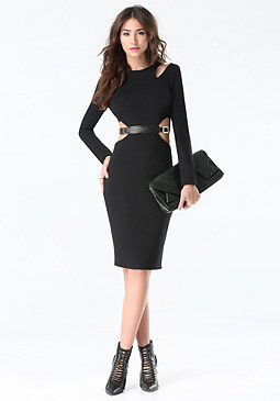 bebe Belted Cutout Dress