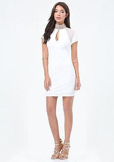 Embellished Mock Neck Dress
