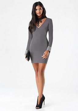 bebe Sparkle Cuff Dress