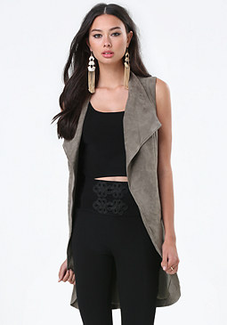 bebe Faux Suede Sleeveless Coat