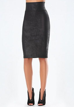 bebe Coated High-Rise Midi Skirt