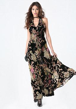 bebe Burnout Velvet Halter Gown