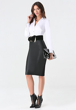 bebe Faux Leather & Ponte Skirt