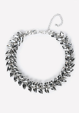 bebe Crystal Leaf Short Necklace