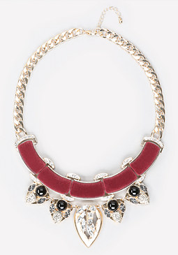 bebe Velvet & Crystal Necklace