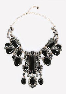 bebe Large Crystal Bib Necklace