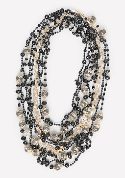 bebe Black & Gold Bead Necklace