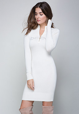 bebe Mock Neck Sweater Dress