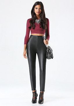 bebe Faux Leather Skinny Pants