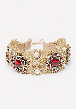 bebe Lace & Ruby Stone Headpiece