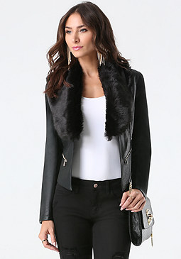 bebe Jenn Faux Fur Collar Jacket