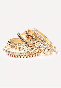 bebe Crystal & Chain Bangle Set