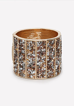 bebe Crushed Crystal Cuff