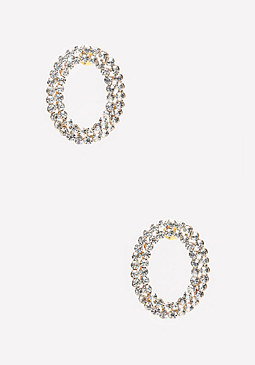 bebe Crystal Oval Earrings
