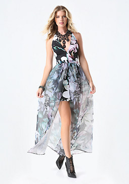 bebe Print Organza Overlay Gown