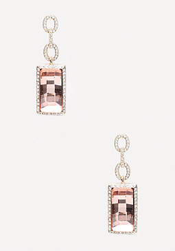 bebe Pave Link Linear Earrings