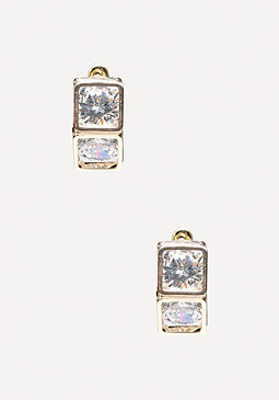bebe Dual Crystal Cube Earrings
