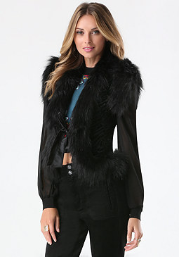 bebe Courtney Faux Fur Vest