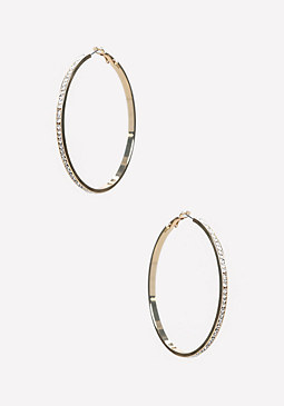 bebe Thin Pave Hoop Earrings