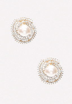 bebe Crystal Faux Pearl Earrings