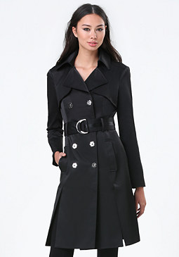 bebe Front Slit Trench Coat