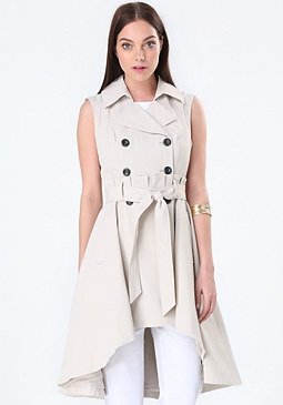 bebe Paper Bag Waist Trench Coat