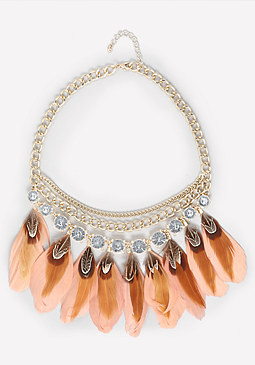 bebe Crystal & Feather Necklace