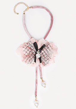 bebe Rosette Lariat Necklace