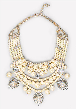 bebe Pearlescent Bib Necklace