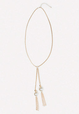 bebe Chainlink Lariat Necklace