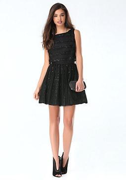 bebe Lace & Sequin Stripe Dress