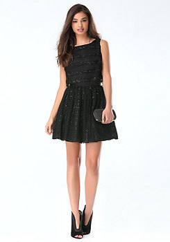 bebe Lace & Sequin Stripe Dress