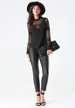 bebe Layered Lace Peplum Top
