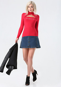 bebe Logo Mock Neck Sweater