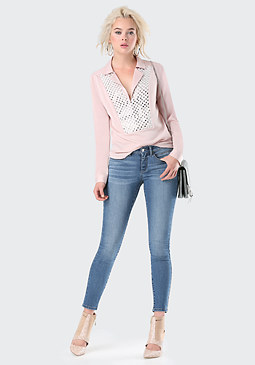 bebe Metallic Embellished Top