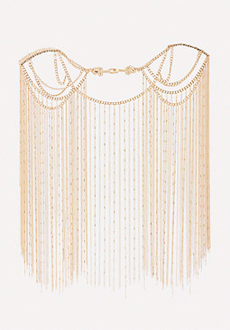 bebe Chain Fringe Body Cape