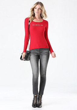 bebe Logo Ribbed Sweater