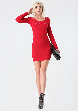 bebe Logo Ribbed Sweater Dress