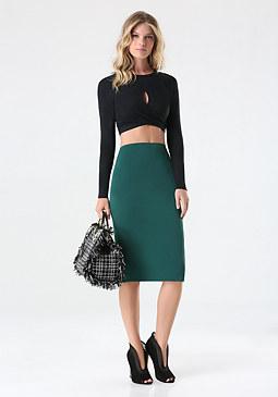 bebe Marisa Twill Midi Skirt