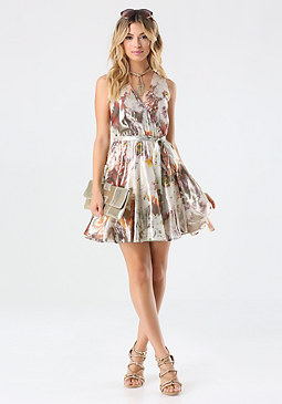 bebe Print Metallic Silk Dress