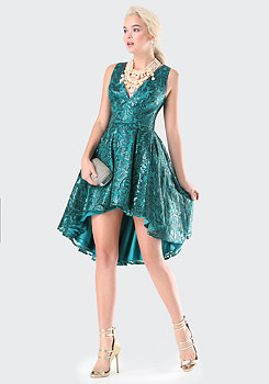 bebe Petite Sequin Hi-Lo Dress