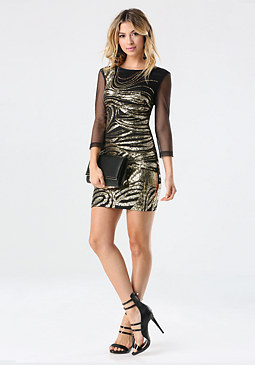 bebe Swirled Sequin Dress