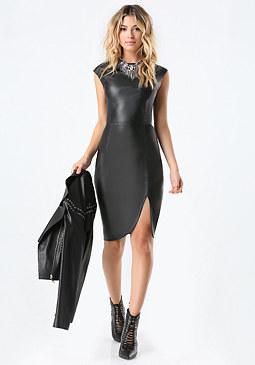 bebe Petite Faux Leather Dress
