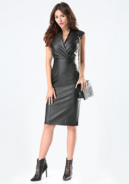 bebe Petite Faux Leather Dress