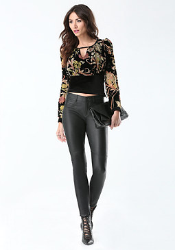 bebe Burnout Velvet Banded Top