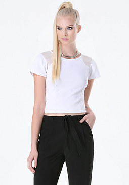 bebe Chiffon Inset Textured Top
