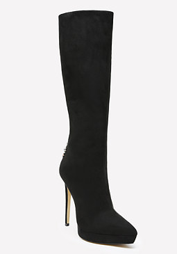 bebe Aleena Jeweled Pointy Boots