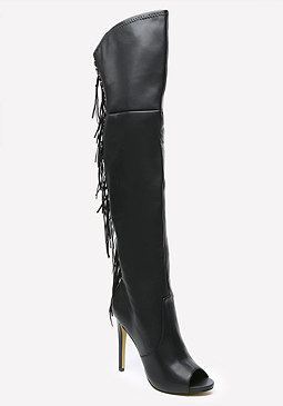 bebe Fringe Over the Knee Boots