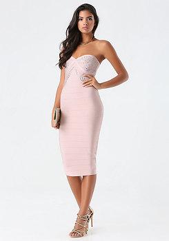bebe Petite Bandage Midi Dress